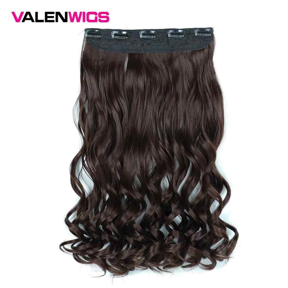 ValenWigs de Color Natural puro pelucas sintéticas resistentes al calor 5 Clips en pieza de pelo largo ondulado un Clip en extensiones de cabello