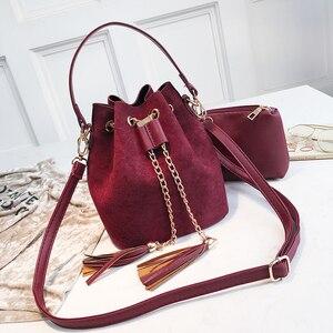 2019 New Mini Crossbody Handbags Cute Suede Bucket Bag Organizer Small Tassel PU Leather Womens Shoulder Messenger Bags Bolsos(China)