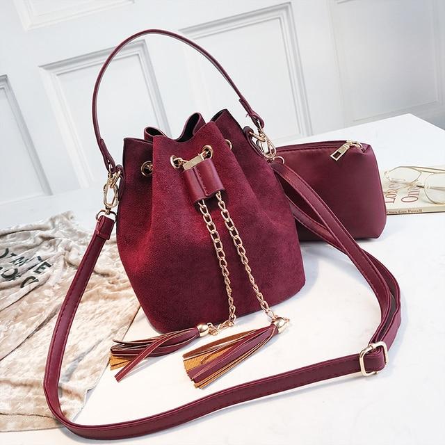 2019 New Mini Crossbody Handbags Cute Suede Bucket Bag Organizer Small Tassel PU Leather Womens Shoulder Messenger Bags Bolsos