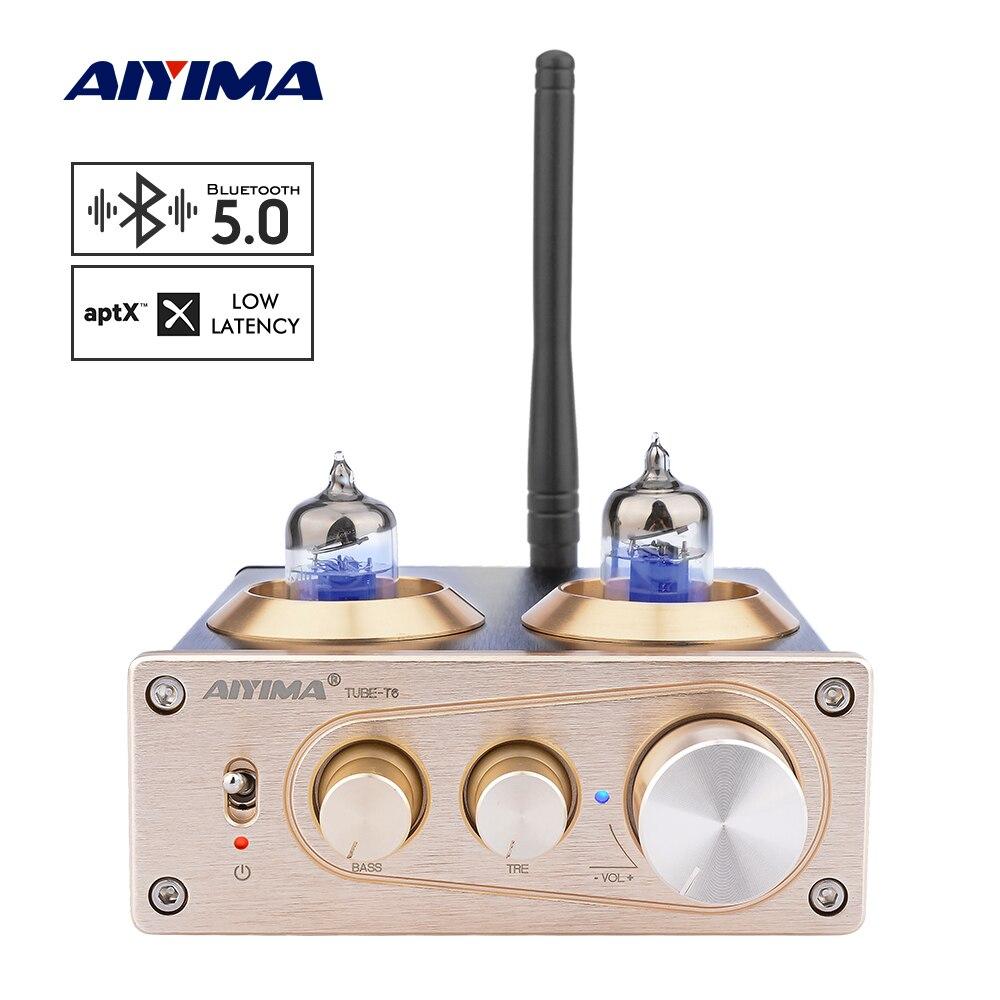 AIYIMA 6J1 APTX Bluetooth 5.0 Tubo Amplificador Amp Tubo de Vácuo Amplificador Estéreo DIY Casa Pré Amplificador de Potência Com Controle De Tom