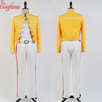 Queen Lead Vocals Freddie Mercury Wembley On Stage men women Cosplay Yellow Jacket White Pant Costume Suit Full Set Halloween
