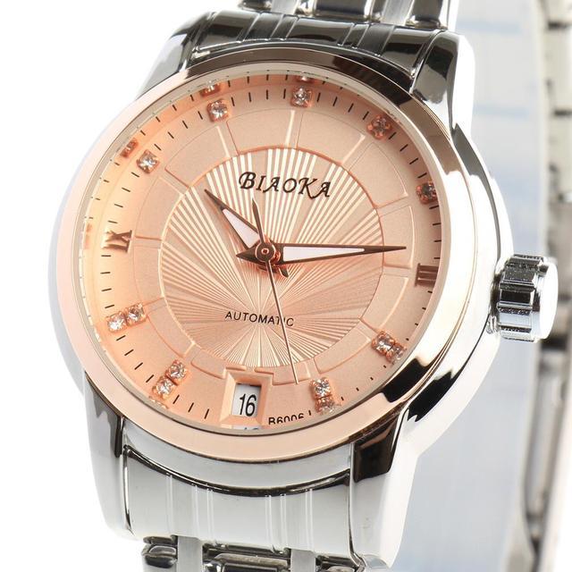 ساعة ذهبية عصرية جديدة من BIAOKA ساعة أنيقة للنساء من الفولاذ فستان كلاسيكي ميكانيكي بهيكل عظمي ساعة مضادة للماء reloj mujer