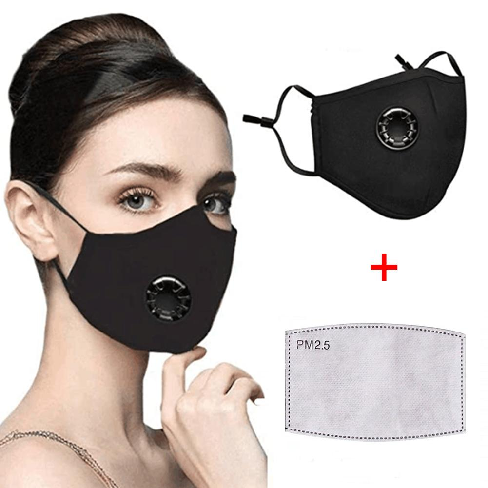 PM2.5 Reusable Washable Anti Haze Dust Face Mouth Protective Mask With Valve Safe Disinfection Protection Against Viruses