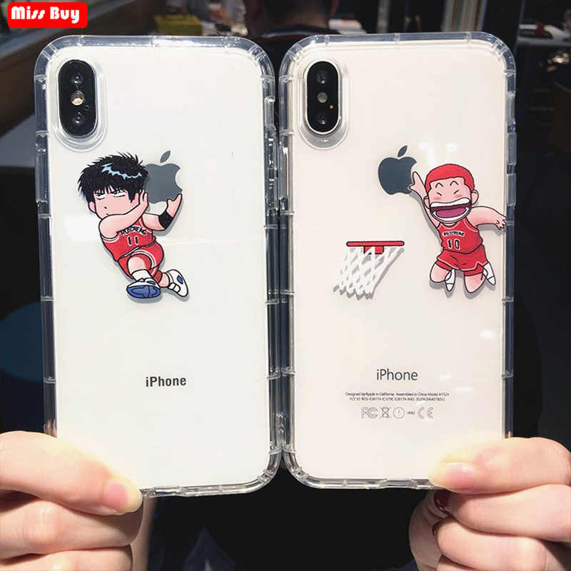 Leuke Cartoon Slam Dunk Case Voor iPhone 11 Pro Max X 6 6s 6 7 8 Plus Xr Xs max Coque Anime Fundas Soft Transparant Clear Cover
