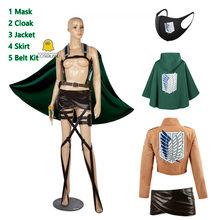 Ataque em titan scout regimento cosplay traje conjunto anime eren jaeger ackerman levi mikasa armin arlert capa hanji zoe jaqueta