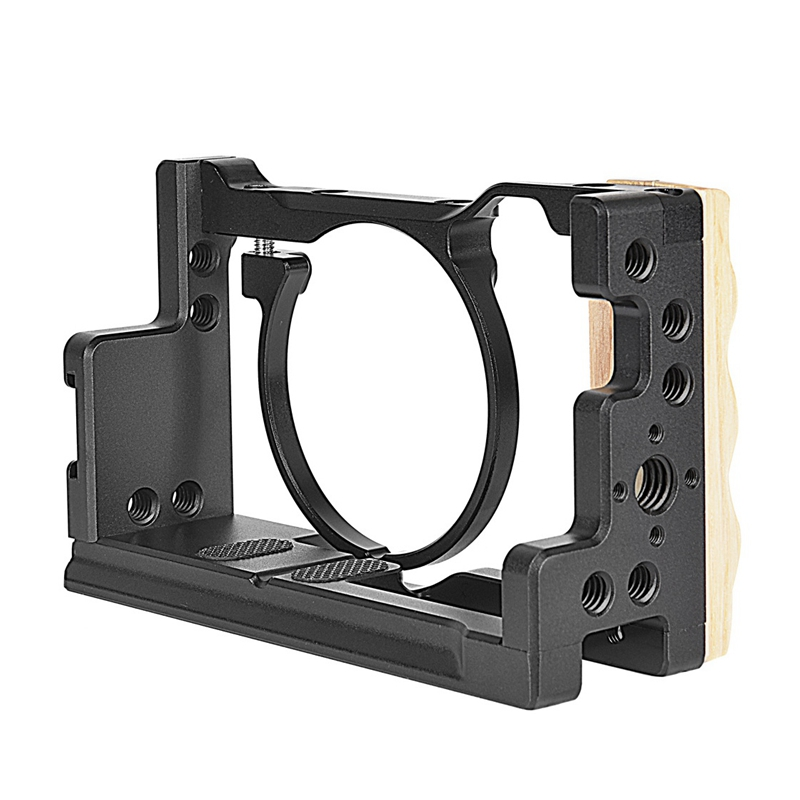 NEW-Camera Cage with Wooden Handle Professional Video Gear DSLR Rig Camera Stabilizer for Sony Cyber-Shot DSC-<font><b>RX100</b></font> VI VII <font><b>RX100</b></font> image