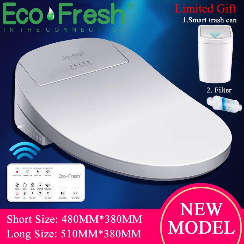 Ecofresh inteligente assento do toalete elétrica bidé bidé inteligente aquecido assento do toalete luz led wc inteligente tampa de assento do toalete