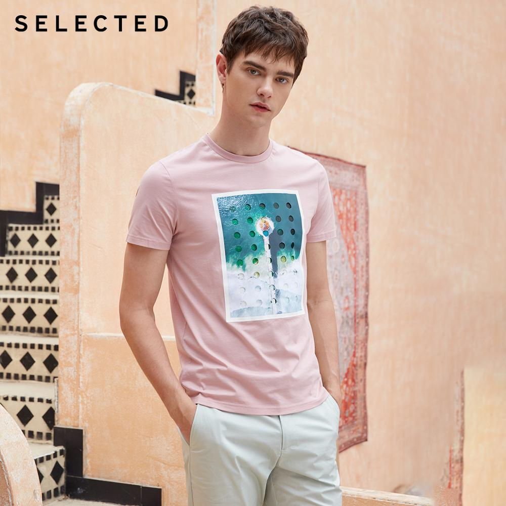 SELECTED Men's 100% Cotton Printed Short-sleeved T-shirt S 419201593