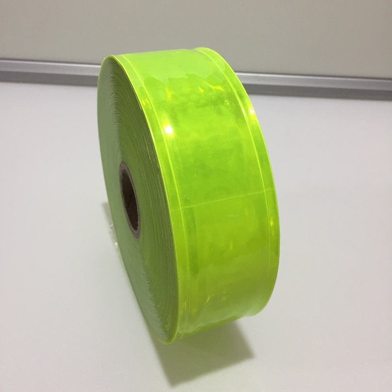 High Light Flashing Warning Fluorescent GreenReflective PVC Tape For The Clothing Reflective Vest Strip PVC  Reflective Material