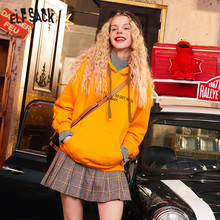 ELFSACK Blue Solid Letter Print Casual Women Hoodies Sweatshirts 2020 Winter Striped Patchwork Fake Two Pieces Female Tops