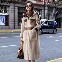 Ayunsuede abrigo de piel Real para mujer Abrigos de lana de invierno chaqueta para mujer ropa 2019 chaquetas largas estampadas Manteau Femme MY4266