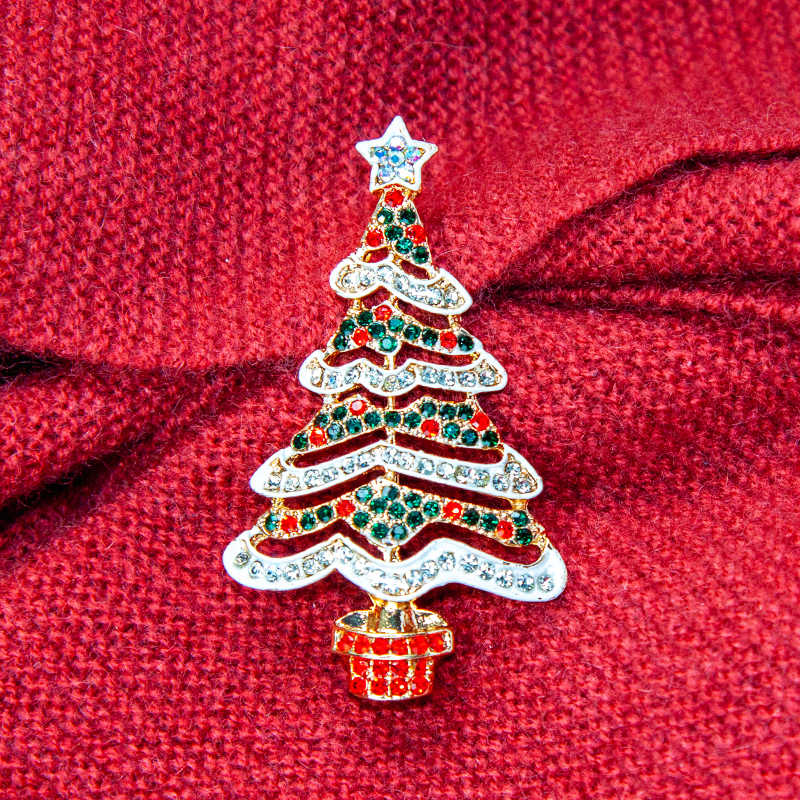 Luxury Christmas Tree Brooches Multicolor Rhinestone Collar Pins Winter Jewelry For Women Men Collar Hat Coat Suit Xmas Gift