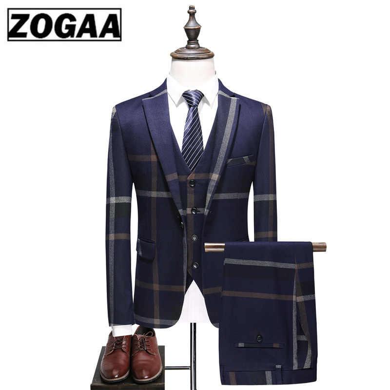 Hommes mode urbaine haut de gamme personnalisé britannique plaid mariage banquet Slim blazers 3 pièces ensemble (costume + gilet + pantalon) S-5XL hommes costume