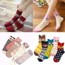 3 pares/lote meias femininas bonito dos desenhos animados meias curtas moda harajuku estudante meninas engraçado animal impressão meias outono inverno quente meias
