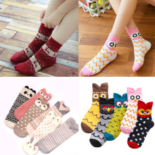 3Pairs/Lot Autumn Women Socks Cute Cartoon Short Winter Fashion Harajuku Student Girls Funny Animal Print Ankle