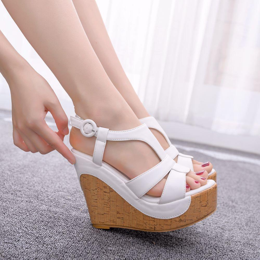 Crystal Queen Wedges Sandals Bohemia Style Womens Sandals Hemp Rope High Heel Fish Mouth On Peep Toe Platform Wedges