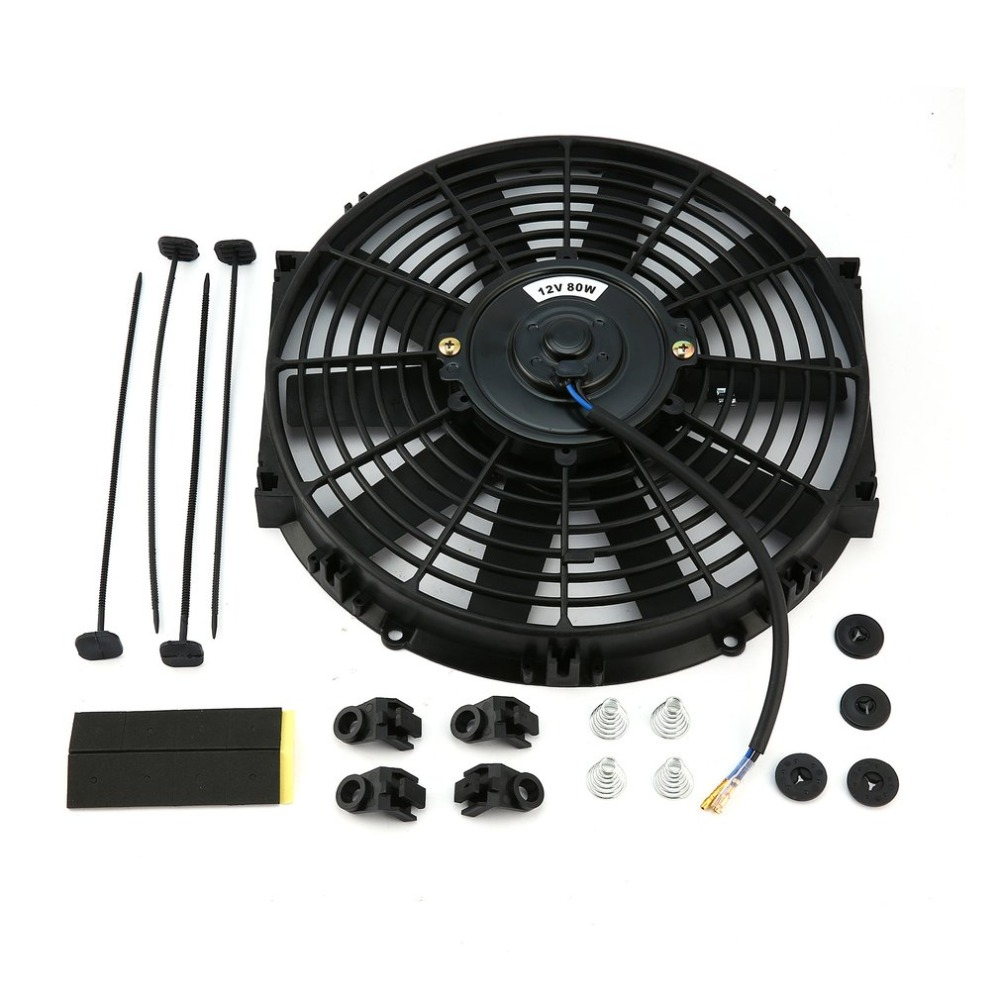Genuine 10 Inch 80W Round Frame Straight Leaves High Performance Motorsport Fans Automotive General Purpose Electronic Fan