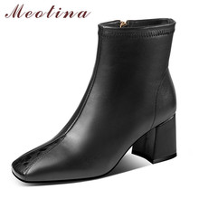 цена на Meotina Genuine Leather High Heel Ankle Boots Women Shoes Square Toe Thick Heels Short Boots Zipper Female Boots Winter Black