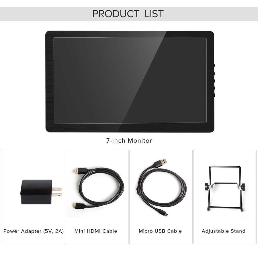 UPERFECT-minimonitor portátil de 7 pulgadas, con pantalla IPS HD y WLCD, HDMI, para ordenador portátil PS4, Xbox, videojuegos, películas de viaje, 450cd/m