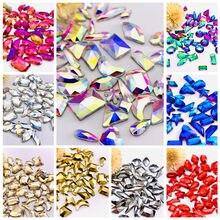 Mixed Shape 30/100Pcs Diamond 3D Nail Art Rhinestones Flatback Strass crystal irregular Shiny Glass For DIY Nails Art Decoration