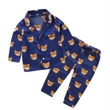 Детская одежда, пижамный комплект из 2 предметов, одежда для сна для мальчиков и девочек одежда с длинными рукавами и рисунком медведя, штаны для малышей, зимняя одежда для новорожденных в Корейском стиле, 19Jul