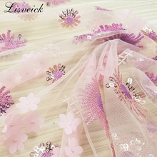 1Yard New sequins / beads embroidered mesh lace fabric diy stage clothing dress decoration cloth accessories