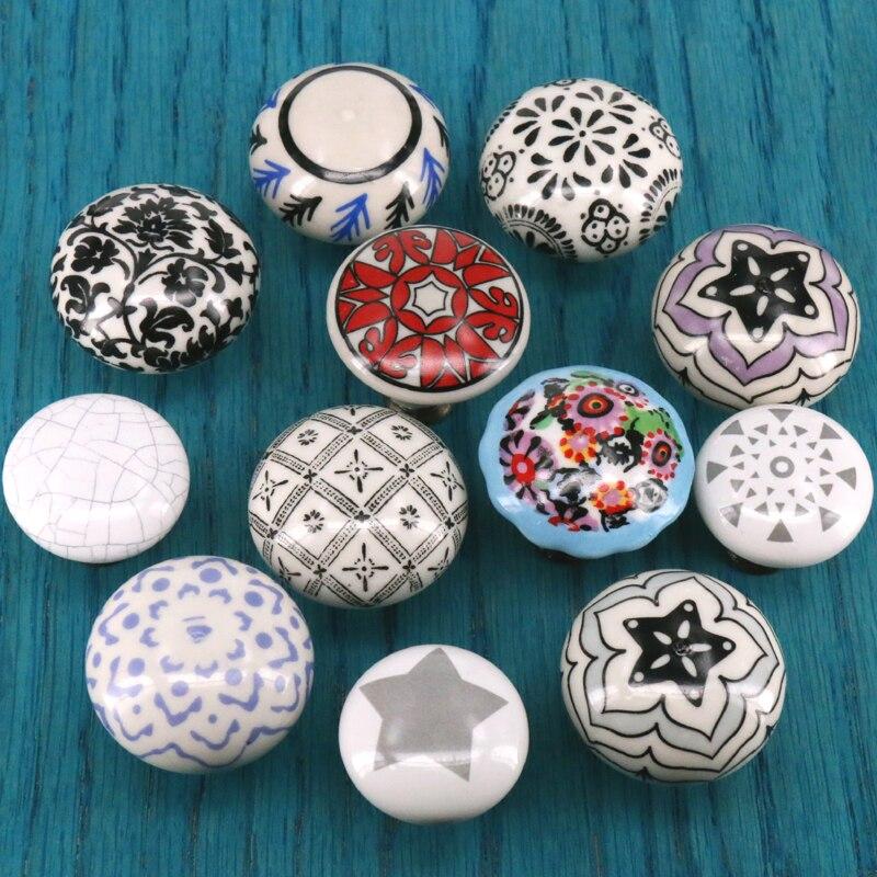 1PC Vintage Ceramic Knobs And Handles Door Handle Cupboard Pull Knob Furniture Hardware
