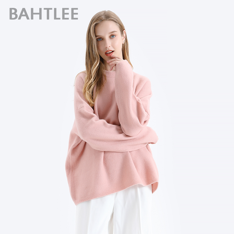 BAHTLEE Women Yak Velvet Sweater Long Sleeves Autumn Winter Wool Knitted Jumper Pullovers Loose Warm