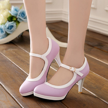 Summer 2019 Fashion High Heels Mary Jane Shoes Woman Buckle Purple Blue White Lolita Party Ladies Pumps Large Size 43