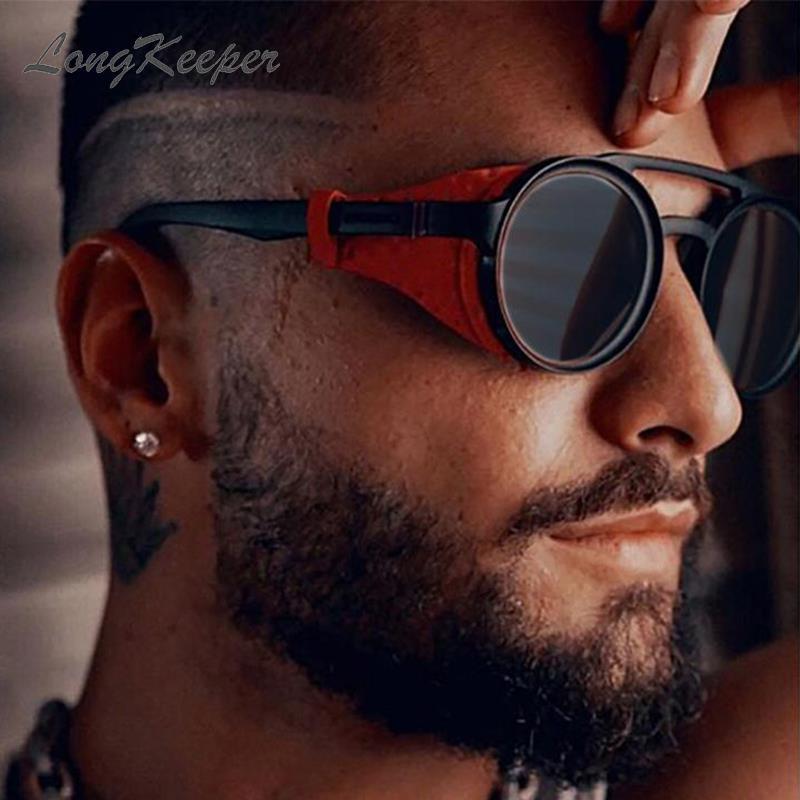 LongKeeper 2020 Vintage Runde Steampunk Sonnenbrille Für Männer Leder Seite Schild Runde Männlichen Sonne Gläser UV400 oculos masculino