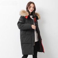 Boollili Down Jacket Woman Hooded Sport Parka Winter Coat Women Raccoon Fur Collar Long Coats Canada Style Parkas Mujer MY1530