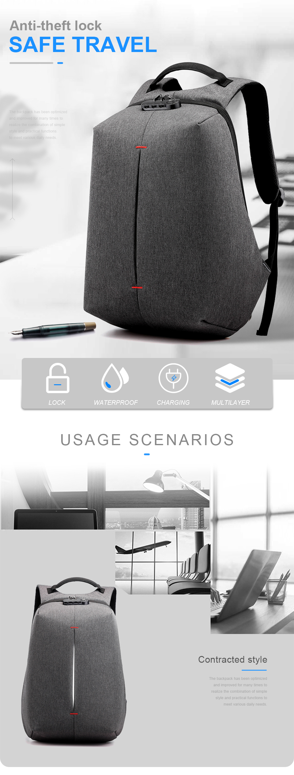 Laptop Backpack 15.6 Inch Notebook Back Pack Anti Theft Business Men Travel Bags Waterproof Male USB Charging Student Bagpack (1)