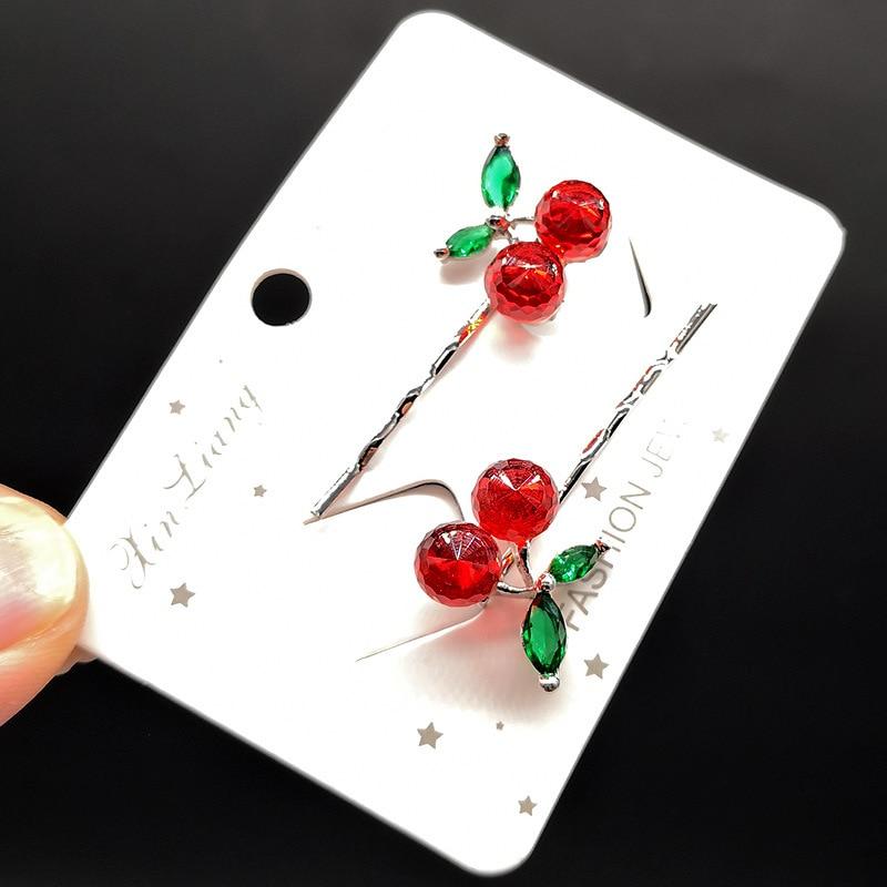 Fashion Crystal Cherry Hair Clip Lovely Sweet Hairpins Barrette Headdress For Women Girl Hair Accessories