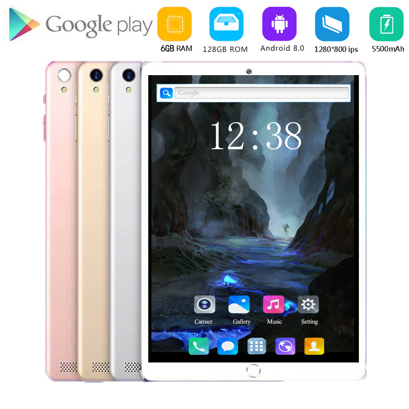 2020 New 10.1 Inch Tablet PC Octa Core 6GB RAM 64GB 128GB ROM Android 8.0 WiFi Bluetooth GPS 4G Phone Call Dual SIM Tablets