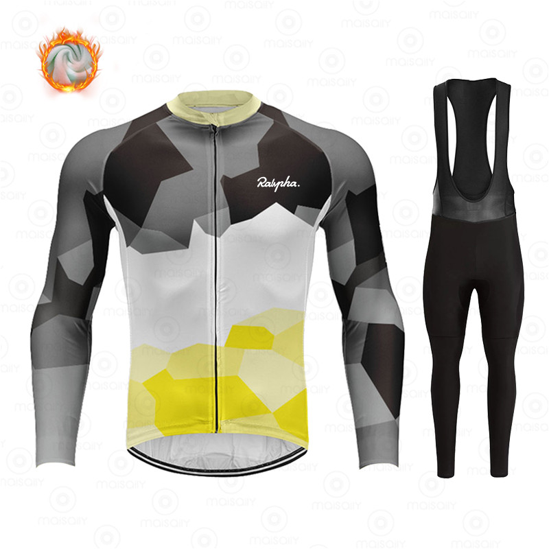 Ralvpha Winter Fleece Cycling Sets Ropa Ciclismo Men's Cycling Top Jerseys Outdoor Bike Bicycle Long Sleeve Clothing Suits 2