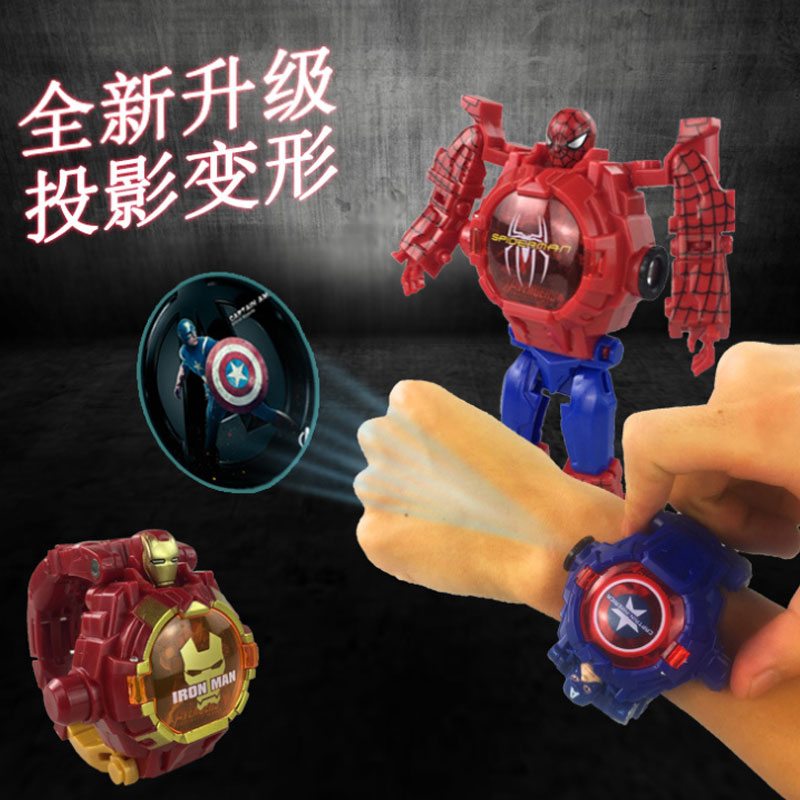 Children's Watch Machine Spider-Man 21 Pattern Cartoon Projection Electronic Glowing Kids Watch Princess Cartoon Girl Boy Clock