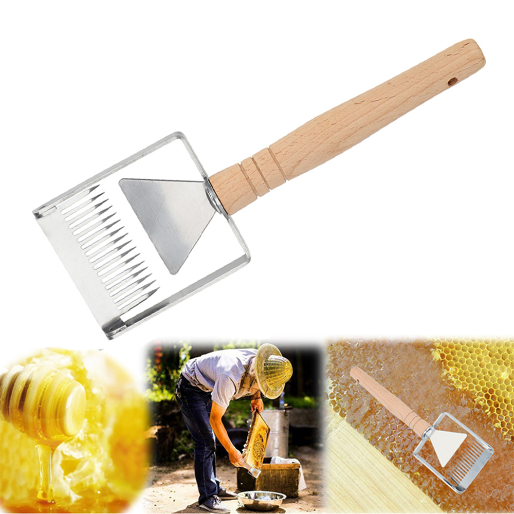 Honey Scrapper with Wooden Handle Honeycomb Scraper Stainless Steel Honey Scrapping Tool Honey Uncapping Fork Honey Scraper