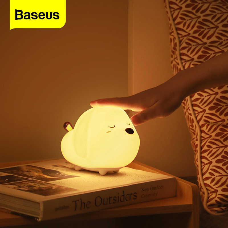 Baseus 귀여운 밤 빛 터치 센서 동물 고양이 개 RGB 색상 LED 밤 램프 빛 아기 어린이 키즈 침실 장식 램프