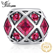 JewelryPalace Created Ruby 925 Sterling Silver Beads Charms Original For Bracelet original Jewelry Making