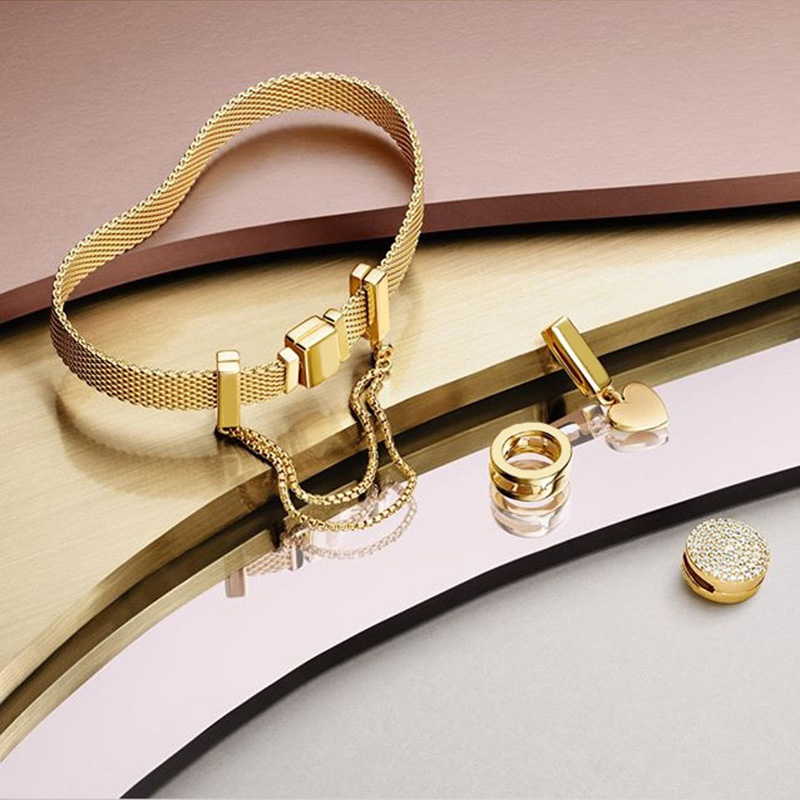 Nouveau 100% 925 en argent Sterling réflexions Bracelet ensemble brillant or coeur élégant ajustement européen bricolage Original breloque perle bijoux cadeau