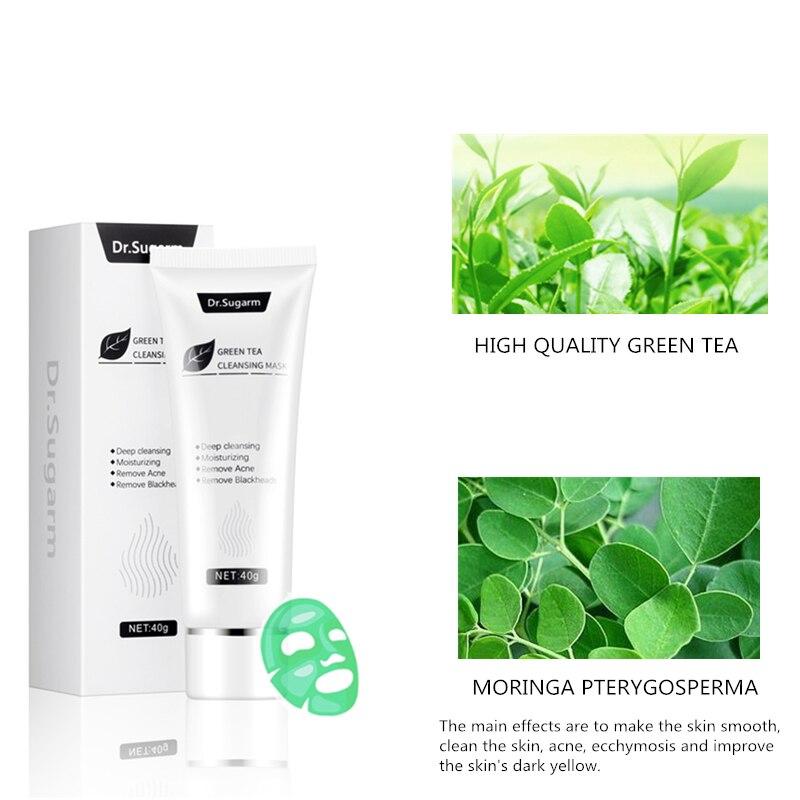 40g Dr.Sugarm Green Tea Blackhead Mask Face Skin Care Remove Acne Nose Deep Cleansing Pore Strip Moisturizing Peel Black Mask 4