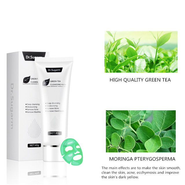 40g Dr.Sugarm Green Tea Blackhead Mask  Skin Care Remove Acne Nose Deep Cleansing  Pore Strip  Moisturizing Peel Mask 2