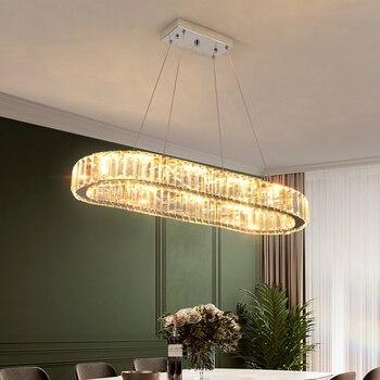 K9 Crystal Chrome Chandelier Light Mirror Stainless Steel Shine Lustre Hanglamp For Bedroom Modern Rings Adjustable Pendant Lamp