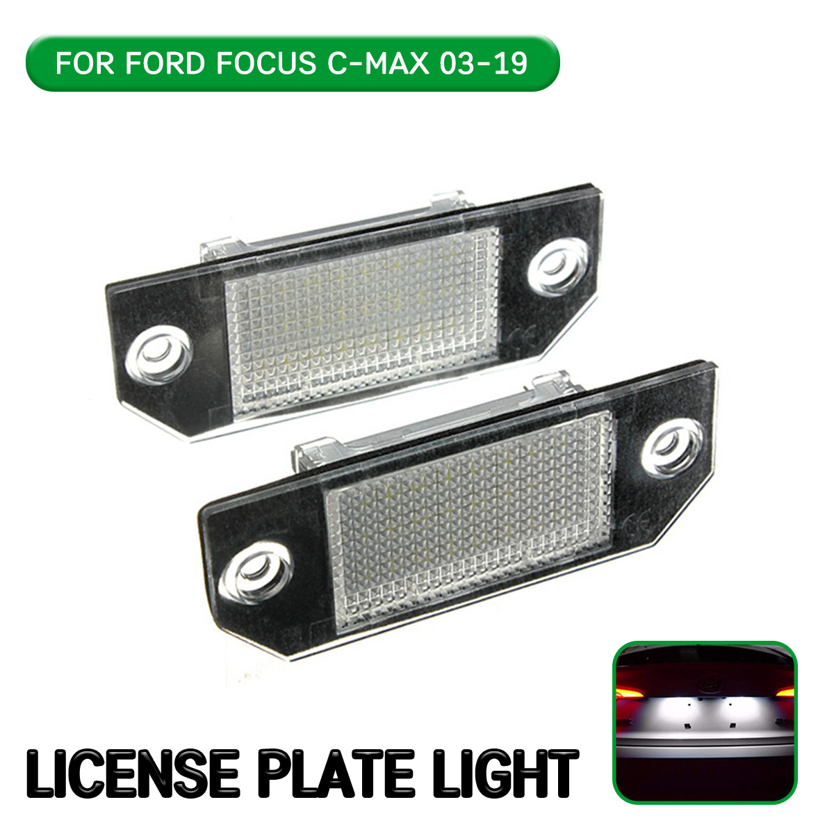2pc <font><b>LED</b></font> License Number Plate <font><b>Light</b></font> Lamp For Ford C-MAX I 2003-2019 For Ford Focus MK2 2003-2008 image