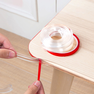 Transparent Table Edge Furniture Guard Corner Protectors Bumper Strip with Double-Sided Tape for Cabinets, Tables, Drawers 1M(China)