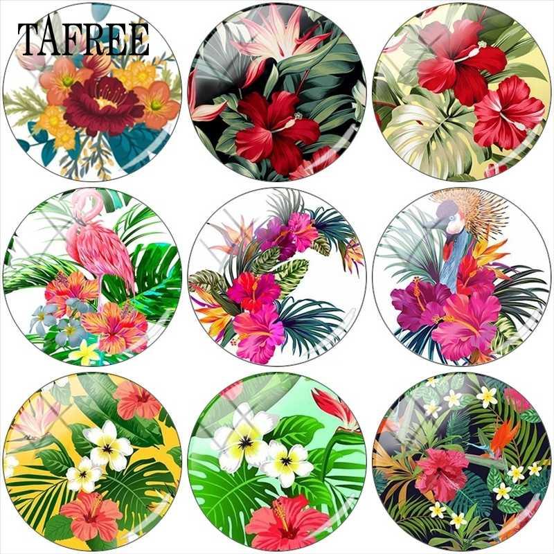 TAFREE Tropical Folha Da Planta Verde Foto 12mm/15mm/16mm/18mm/20mm /25mm Demo Cabochon De Vidro Redonda Apartamento de Volta Fazendo Descobertas