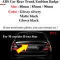 ABS 80mm 85mm 90mm 1pcs Estilo Estrela Estilo Do Carro Auto Tronco Traseiro Do Emblema Do Emblema Para Mercedes benz Brilhante preto/prateado/preto fosco