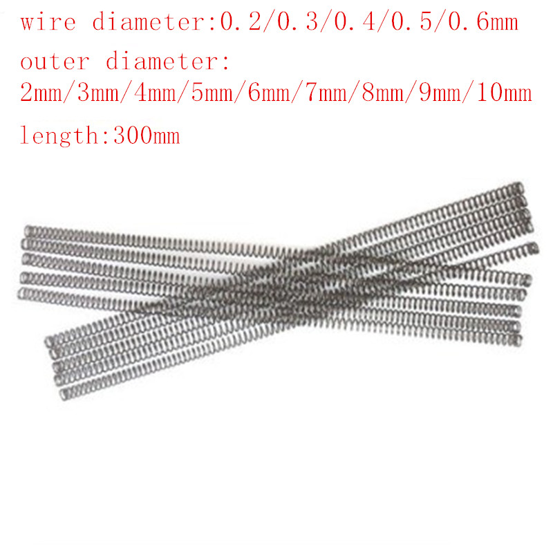 1000mm Long 1mm Wire Diameter 5-20mm OD Pressure Compression Spring Steel 1M