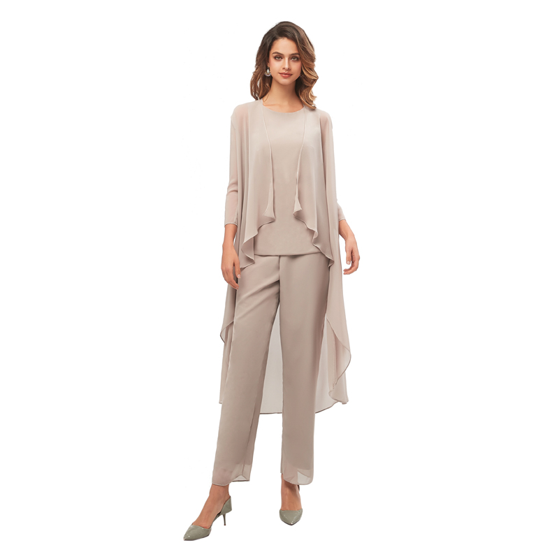 Elegant Three Pieces Mother Of The Bride Dresses Chiffon Pant Suits With Long Jacket Plus Size Mother Of The Groom Dress 2019