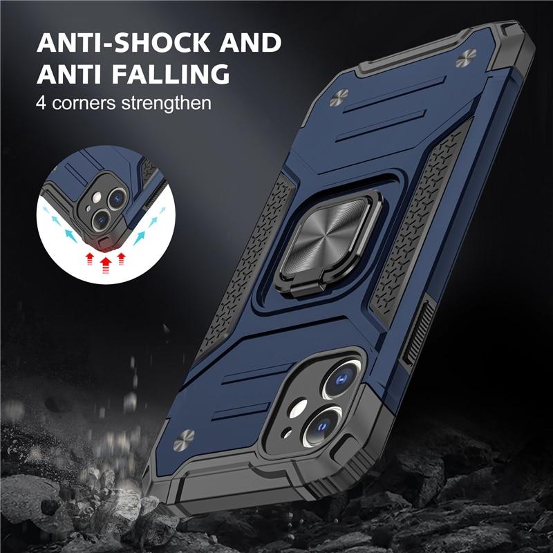 Custodia con supporto magnetico per anello in metallo per iPhone 12 Mini 11 Pro Max Cover posteriore per iPhone Xs Max XR X 8 7 6 6s Plus SE 2020 1